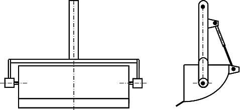 Схема поворотного ковша с вилообразной рукоятью