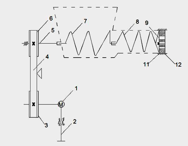 схема привода мясорубки с рабочим и транспортирующим шнеками