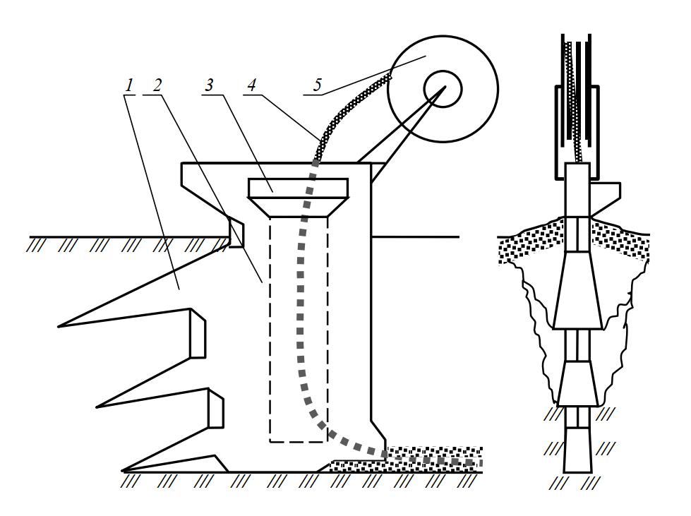 Схема рабочего органа дреноукладчика МД-13 со ступенчатым ножом