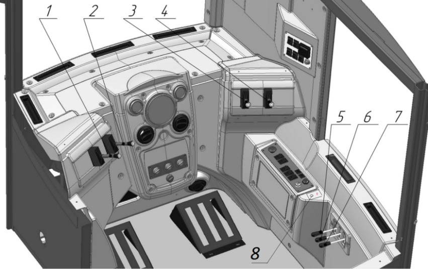 Схема расположения органов управления и приборов в кабине экскаватора