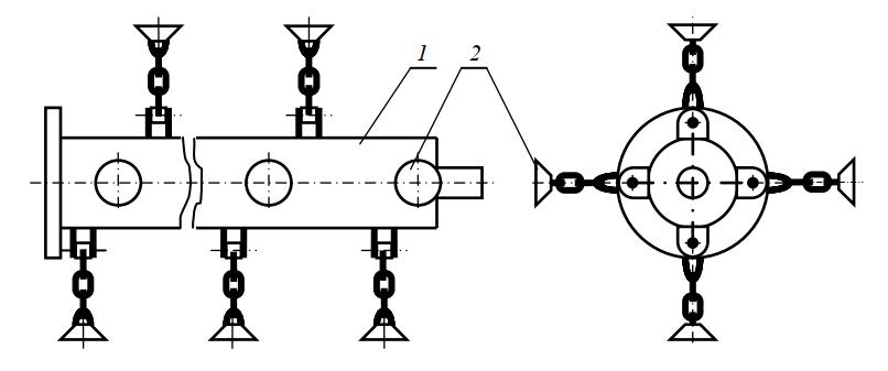 Схема ротора косилки-измельчителя с шарнирно закрепленными чашечными ножами