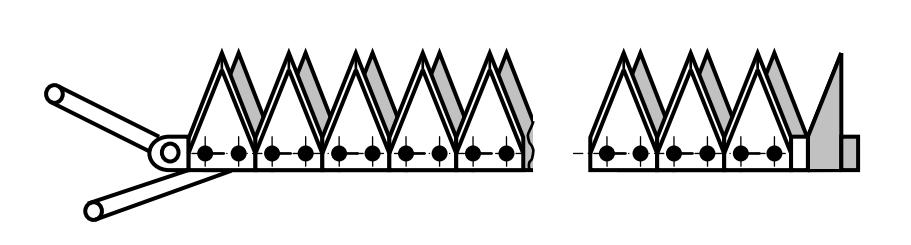Схема сегментного двухножевого режущего аппарата