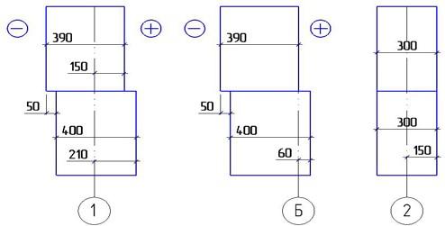 Схемы к определению привязки фундамента