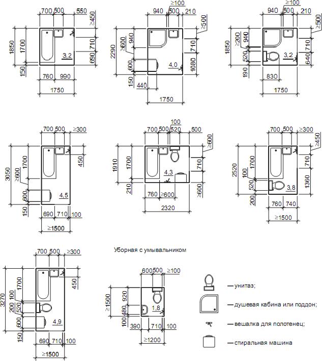 схемы санузлов и размеры санитарного оборудования