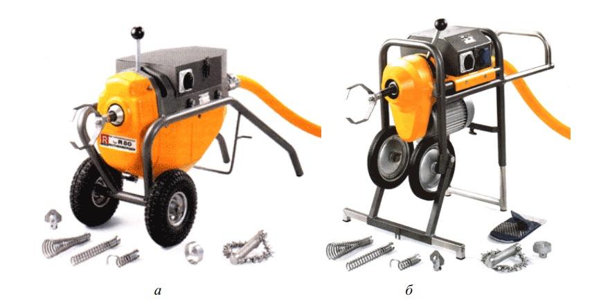 Установки с электроприводом для механической прочистки труб