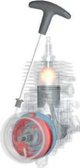 Дополнительный пружинный механизм между коленвалом и пусковой рукояткой для комфортного запуска двигателя
