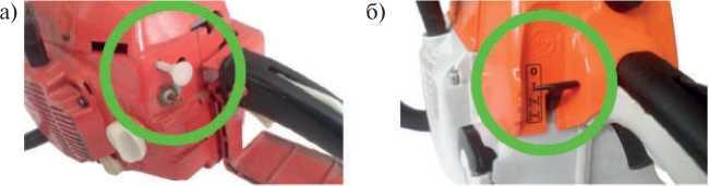 Элементы управления запуском и остановкой бензопилы