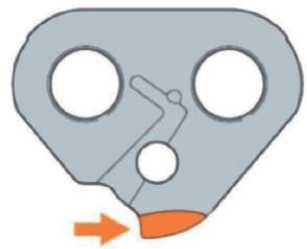 Полое (вогнутое) закругление на выступах ведущих звеньев