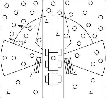 Схема очередности и направления валки деревьев в левом переднем секторе