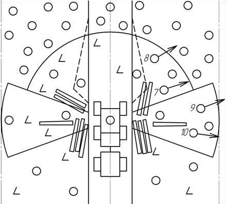 Схема очередности и направления валки деревьев в правых переднем и боковом секторах