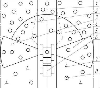 Схема расположения секторов при валке деревьев