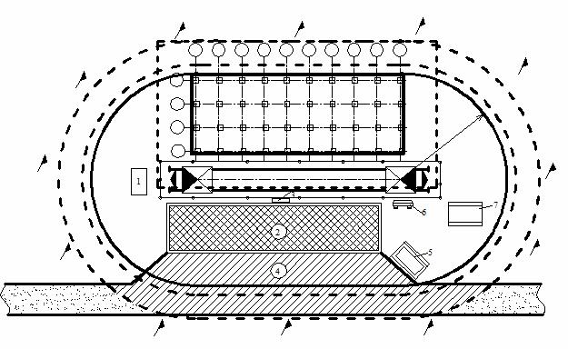Схема размещения механизмов и инвентаря в опасной зоне работы крана с обозначением опасной зоны дороги