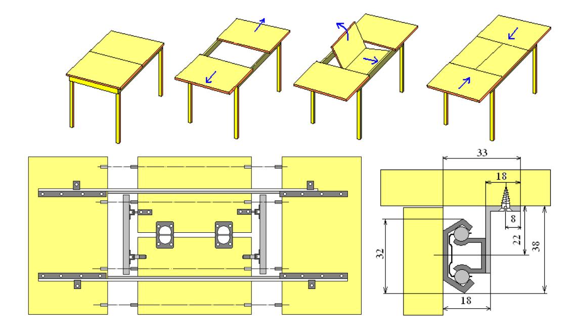 Канатно-рельсовая фурнитура для столов
