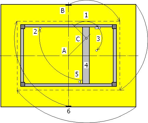 Расчет оси вращения для столов с откидными крышками