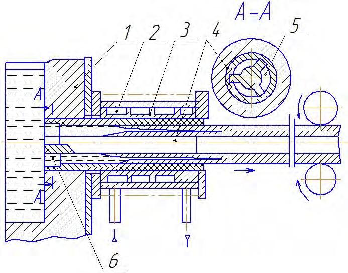 Схема кристаллизатора для горизонтального непрерывного литья трубчатых заготовок