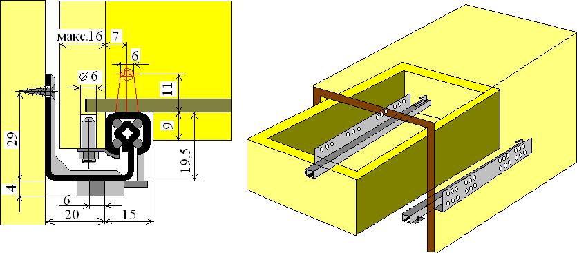 Схема монтажа ящика на скрытых шариковых направляющих