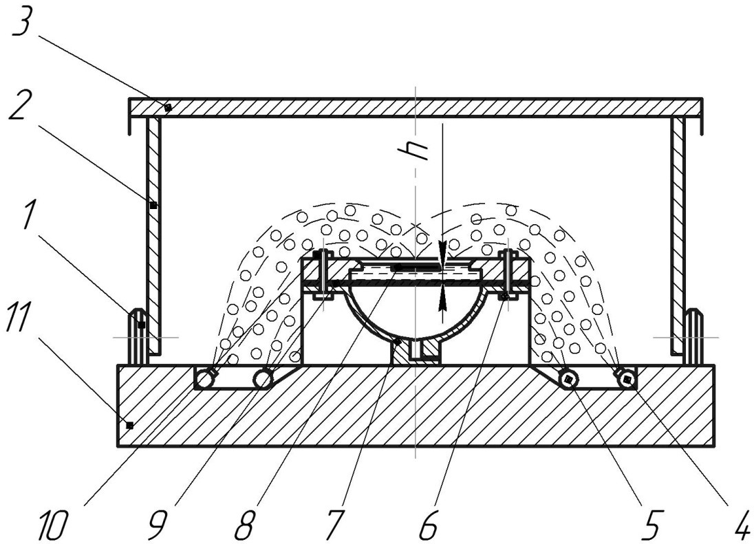 Схема наземной установки для штамповки взрывом