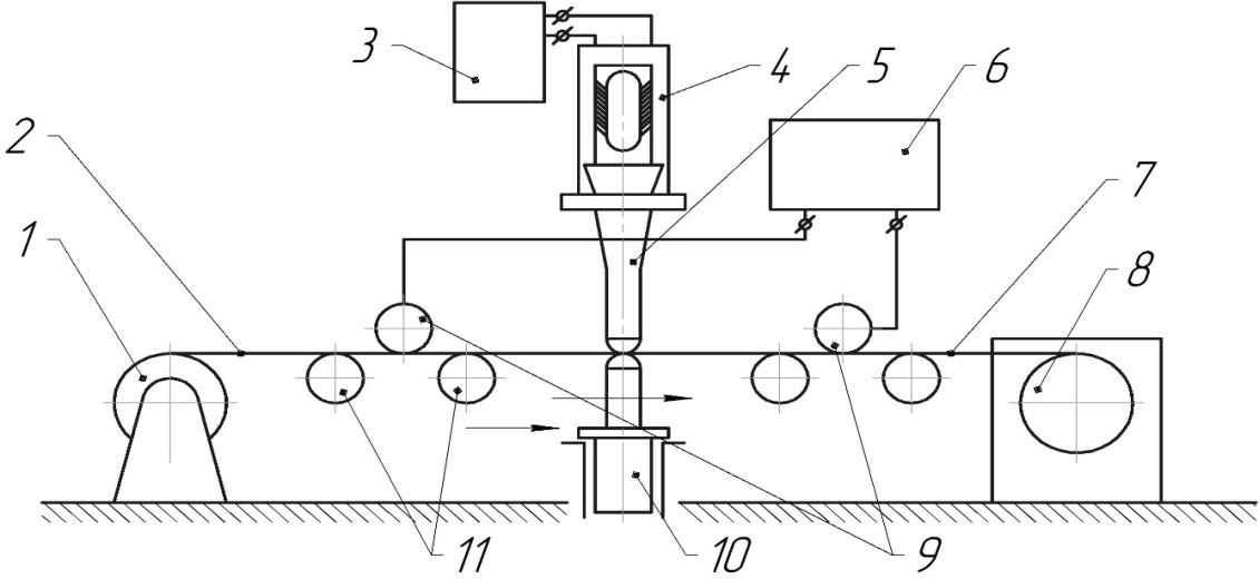 Схема ультразвуковой электропластической установки для плющения металлов