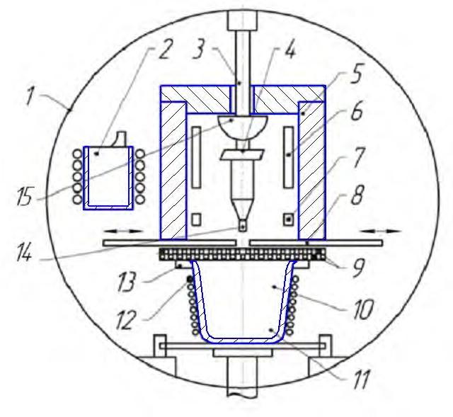 Схема установки для литья монокристаллических лопаток