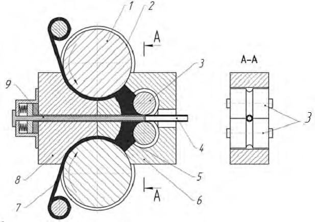 Схема установки для совмещения непрерывных процессов прессования, сварки и прокатки