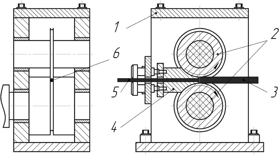 Схема устройства для совмещения процессов прокатки и прессования прутковых изделий