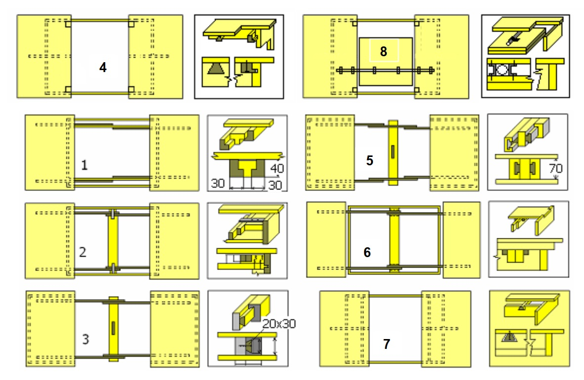 схемы конструкций обеденных столов с ходовыми брусками