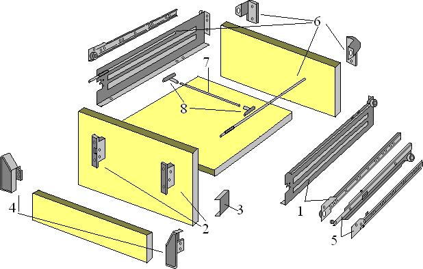 Система элементов для конструкции ящика IMPAZ