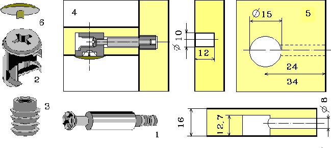 Соединение деталей мебели на эксцентриковую стяжку с муфтой