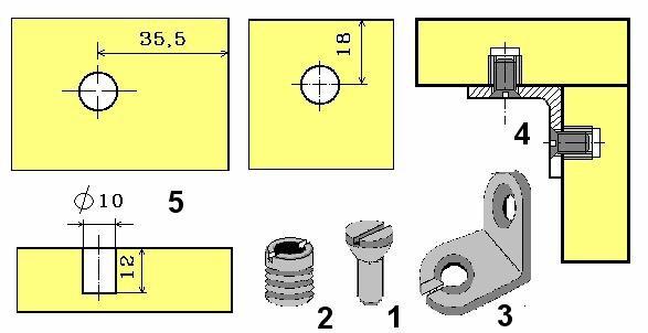 Соединение деталей мебели на стяжку накладную уголковую