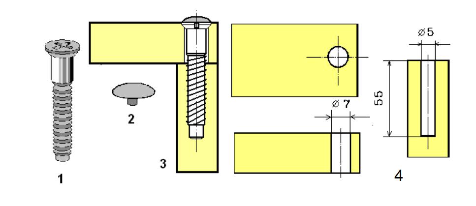 Соединение деталей мебели на стяжку шурупную