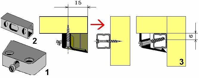 Соединение деталей мебели на трапецеидальную стяжку