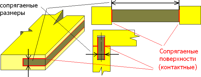 Сопрягаемые (контактные) поверхности в соединении деталей