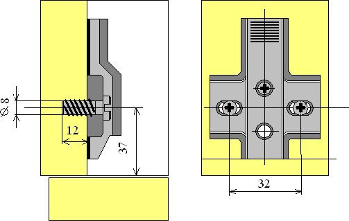 установка ответных планок четырехшарнирной петли