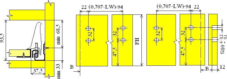 Установочные размеры для ящика