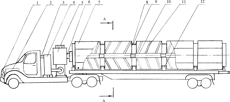 Бункер для зернового материала, установленный на раме транспортного средства