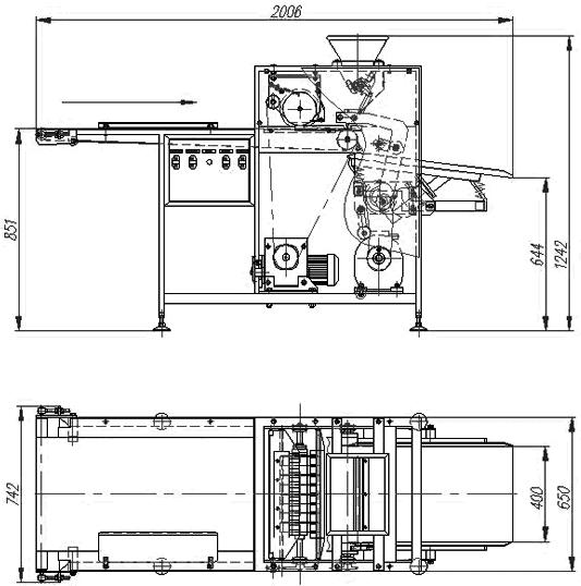 Машина для резки мармеладных пластов на корпуса и полубатонов на «лимонные дольки» БМ-3675