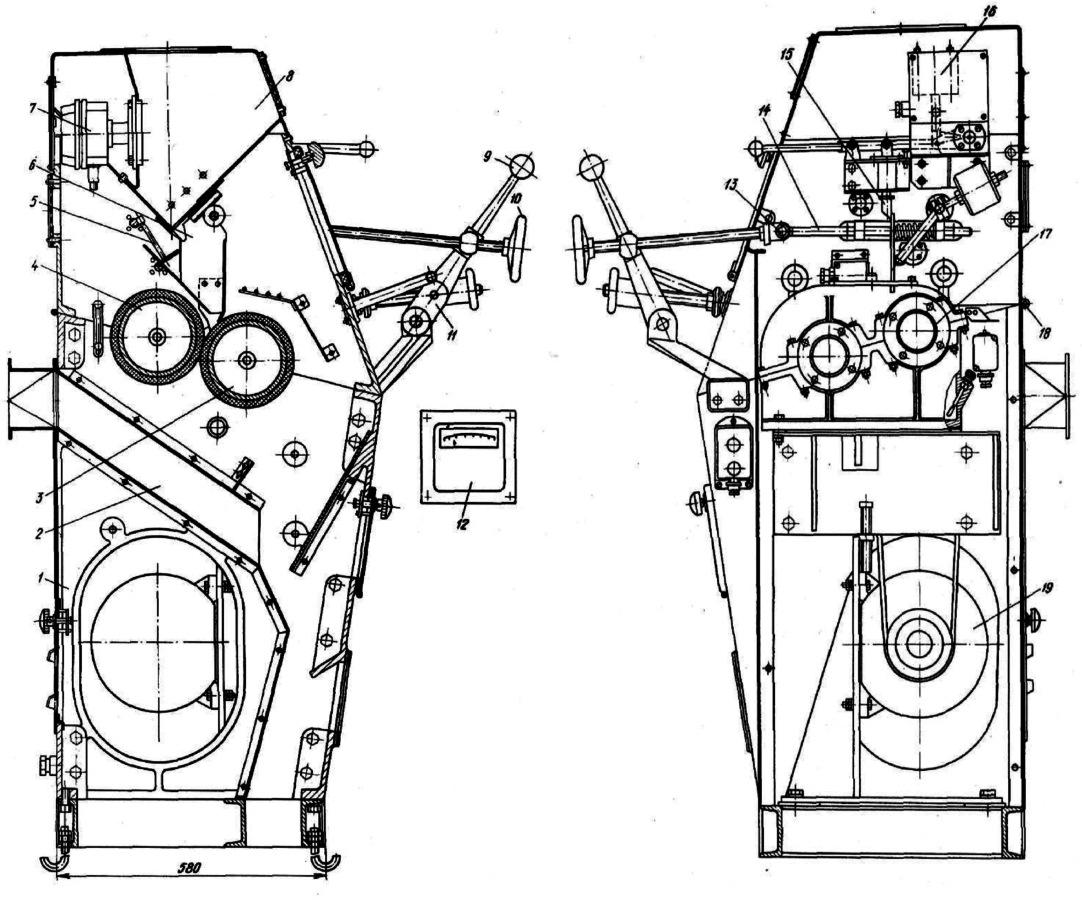 Шелушильная машина с обрезиненными валками А1-3РД-3