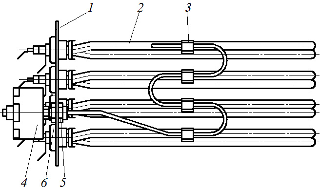 Схема блока нагревательных элементов