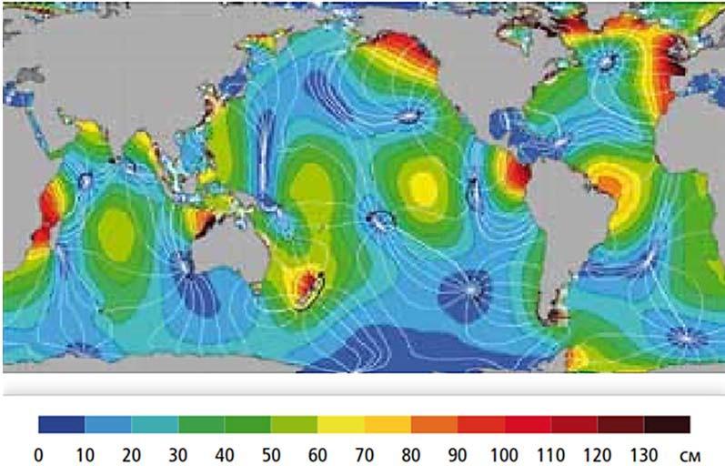 Глобальное распределение амплитуды приливов