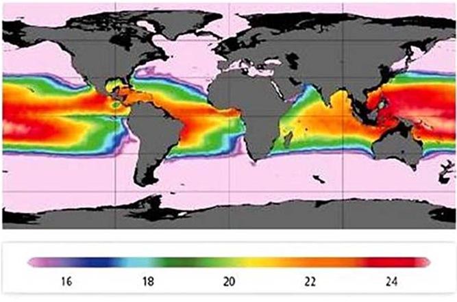 Глобальное распределение тепловой энергии океанов