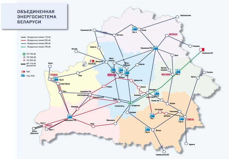 Схема магистральных электросетей Беларуси