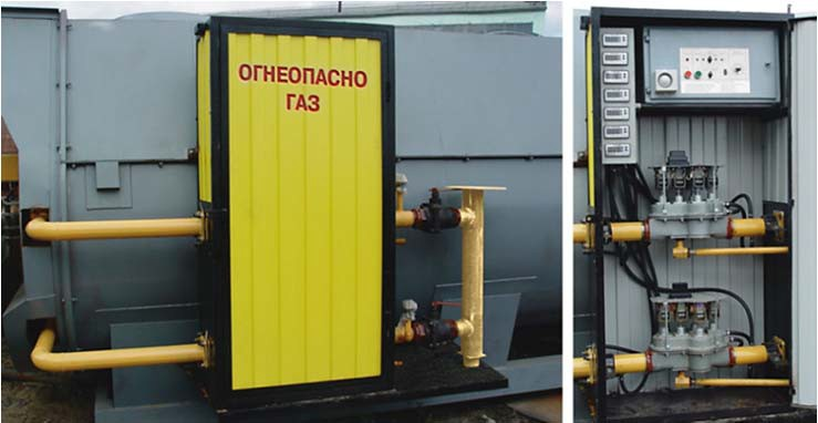 шкаф для регулирования газа на предприятии