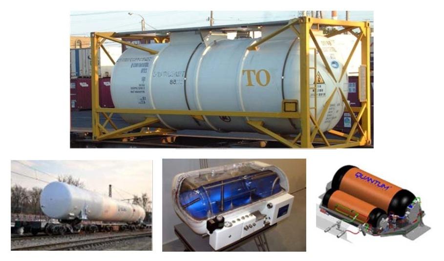 Стационарные и транспортные криогенные контейнеры и емкости для хранения жидкого водорода