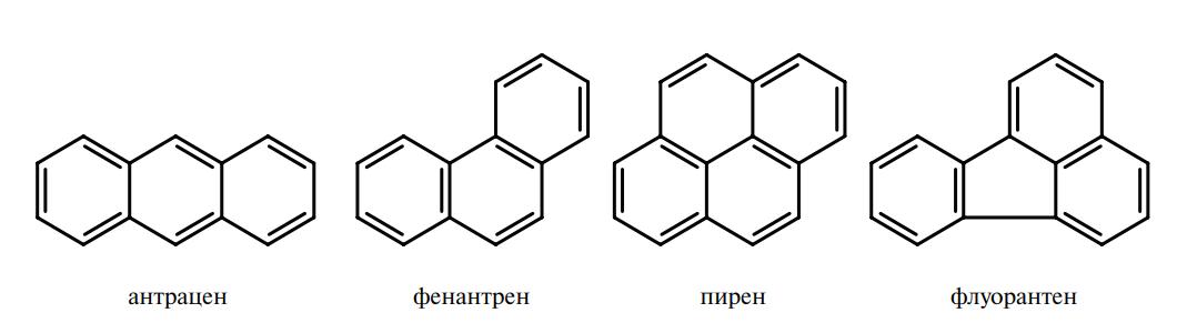 антрацен, фенантрен, пирен, флуорантен