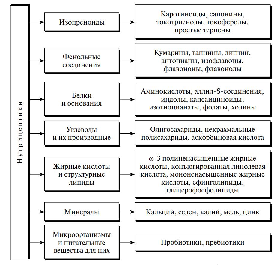 Классификация нутрицевтиков по химическому строению