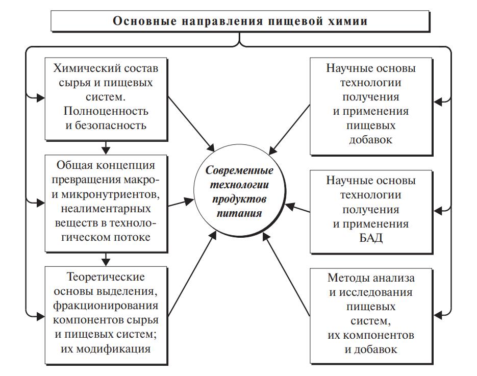 Схема основных направлений пищевой химии