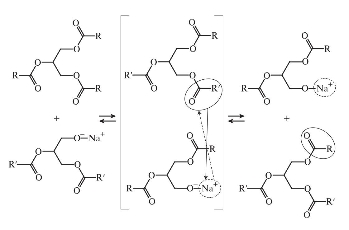 взаимодействие карбонильной группы сложного эфира со спиртовыми группами