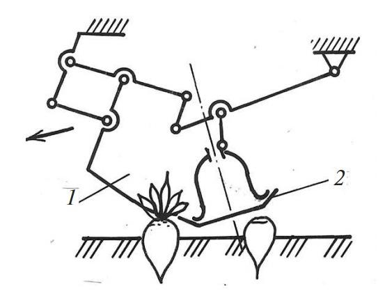 Ботвосрезающий аппарат с гребенчатым копиром