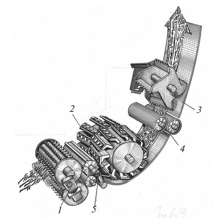 Питающе-измельчающий аппарат кормоуборочного комбайна с доизмельчением зерен «корн-крекер» и ускорителем массы