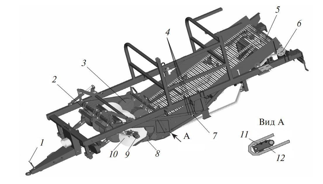 Подкапывающе-сепарирующий блок комбайна ПКК-2